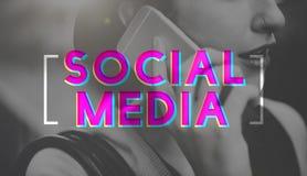Concept social de causerie de mise en réseau de connexion de media Photo stock