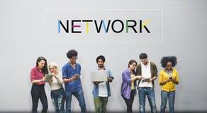 Concept social de communication de connexion de mise en réseau de media Photos stock