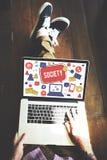 Concept social de connexion réseau de media de société images libres de droits