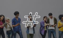Concept social de courrier de blog de media d'icône de Hashtag Photos stock