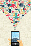 Concept social de dispositif mobile de medias Photos stock