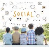 Concept social de la parole d'ordinateur de globe de Word Photographie stock