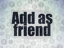 Concept social de media : Ajoutez comme l'ami sur des données numériques empaquettent le fond Photos stock