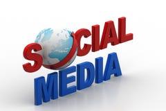 Concept social de media avec le monde Photos libres de droits