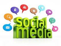 Concept social de media avec les ballons verts des textes et de la parole de media illustration 3D illustration libre de droits