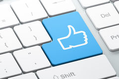 Concept social de media : Comme sur le fond de clavier d'ordinateur Photo stock