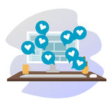 Concept social de media d'illustration plate de vecteur Photos libres de droits