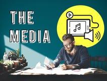 Concept social de media de dispositif de Digital de Podcast Photo stock