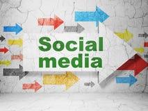 Concept social de media : flèche avec le media social dessus illustration de vecteur