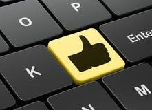 Concept social de media : Pouce sur l'ordinateur illustration libre de droits