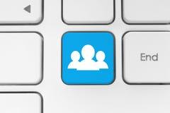 Concept social de media sur le clavier Images stock