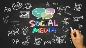 Concept social de media sur le tableau noir Photo libre de droits