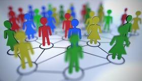 Concept social de medias Les gens connectés dans le réseau 3D a rendu l'illustration illustration stock