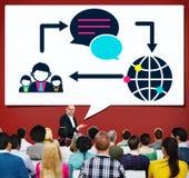 Concept social de mise en réseau de connexion de télécommunications mondiales Photos stock