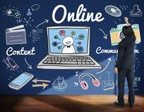 Concept social de mise en réseau de connexion de Web en ligne d'Internet Photo stock