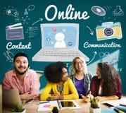 Concept social de mise en réseau de connexion de Web en ligne d'Internet Image stock
