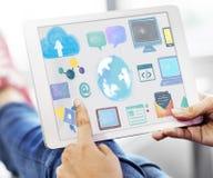 Concept social de mise en réseau de media de télécommunication mondiale Photos stock