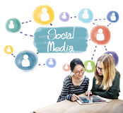 Concept social de réseau de connexion de Media Communication Photos libres de droits