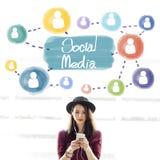 Concept social de réseau de connexion de Media Communication Image libre de droits