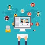 Concept social de réseau et de travail d'équipe pour le graphique de Web et d'infos Photographie stock