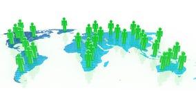 Concept social de réseau sur le globe du monde, images 3D Photographie stock