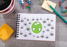 Concept social de réseau sur un bloc-notes Photographie stock libre de droits
