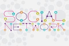 Concept social de réseau utilisant le point et la canalisation de raccordement style de police illustration stock