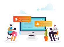 Concept social de stratégie marketing Caractères d'affaires analysant des données sur l'ordinateur Entretien de causerie, réseau  illustration de vecteur