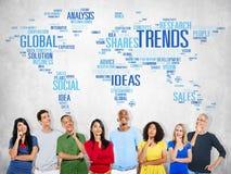 Concept social de style d'idées de vente de carte du monde de tendances image stock