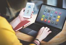 Concept social de symboles de site Web de media Photographie stock libre de droits