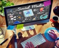 Concept social de télécommunication mondiale de part de causerie de media image libre de droits
