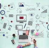 Concept social de technologie de réseau de connexion de Wifi d'Internet Images libres de droits