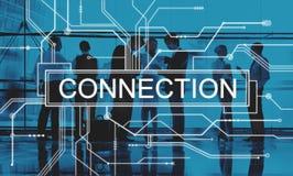 Concept social en ligne de carte de media de réseau de connexion Photo stock