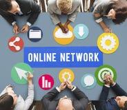 Concept social en ligne de réseau de connexion réseau Image libre de droits