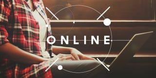 Concept social en ligne de technologie de mise en réseau de connexion internet Image libre de droits