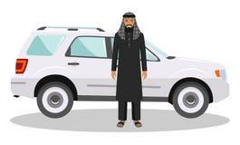 Concept social Homme arabe se tenant près de la voiture dans des vêtements islamiques traditionnels Illustration détaillée d'arab Photo libre de droits