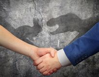 The concept of social inequality. A handshake casts a shadow on the wall in the form of animals stock photo