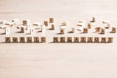Society and public relations. Concept of social media collected of wooden elements with the letters Royalty Free Stock Photos