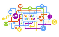 Concept of Social Media and the computer icons Stock Photo