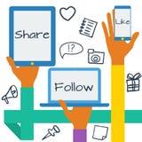 Concept with social media icons Stock Photos
