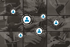 Concept of social media and teamwork Stock Images