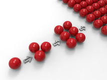 A concept for social media viral. 3D rendered illustration of multiple red spheres arranged in a pattern that reveals the fact that from one user Royalty Free Stock Photography