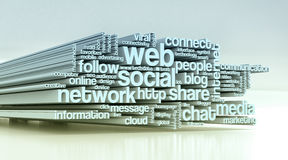 Concept of social media. Word cloud with terms about social web 3d render Royalty Free Stock Photos