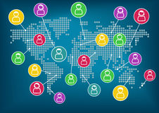 Concept of social network. Global communication and collaboration around the world. Vector background. Icons of various people connected with each other Royalty Free Stock Photo