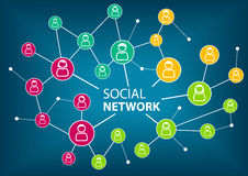 Concept of social network to connect friends, families and global workforce. Royalty Free Stock Photo