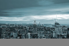 The concept of social networking with city. Concept of social networking with city Royalty Free Stock Image