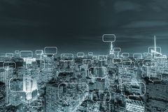 The concept of social networking with city. Concept of social networking with city Stock Photography