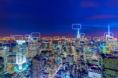 The concept of social networking with city. Concept of social networking with city Royalty Free Stock Photos