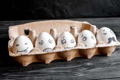 Concept social networks communication and emotions - eggs Stock Photos