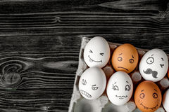 Concept social networks communication and emotions - eggs royalty free stock photo